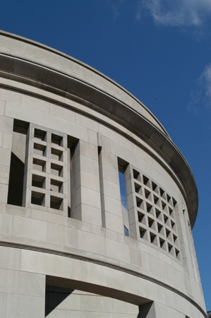 Detail of the 14th Street facade of the United States Holocaust Memorial Museum. [LCID: n09253]