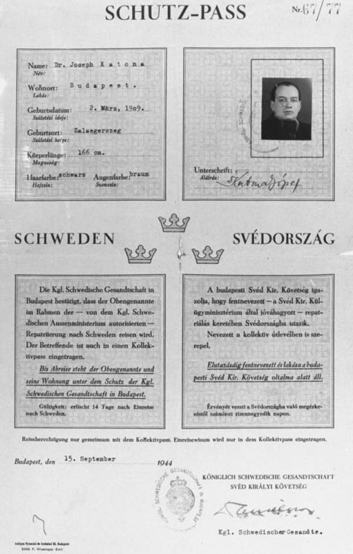 Swedish protective pass issued to Joseph Katona, the Chief Rabbi of Budapest. [LCID: 67062]