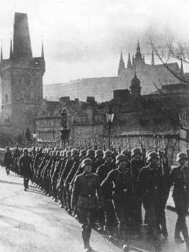German occupation troops march through the streets of Prague. [LCID: 80599]
