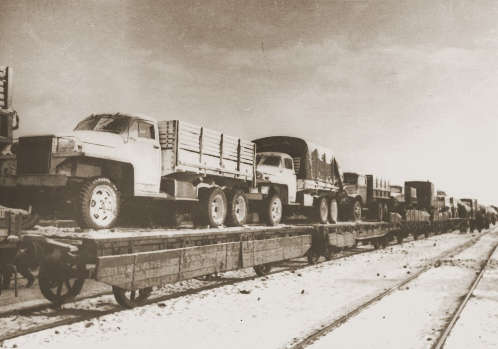 A trainload of American trucks bound for the First Polish Corps of the Red Army. This shipment was part of the Lend-lease program.