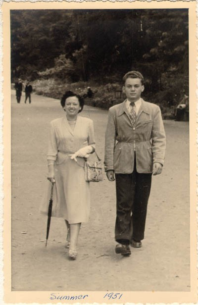 "<p><a href=""/narrative/10415"">Thomas Buergenthal</a> with his mother, Gerda, before Thomas's departure for the United States. Bad Neuheim, Germany, summer 1951.</p>