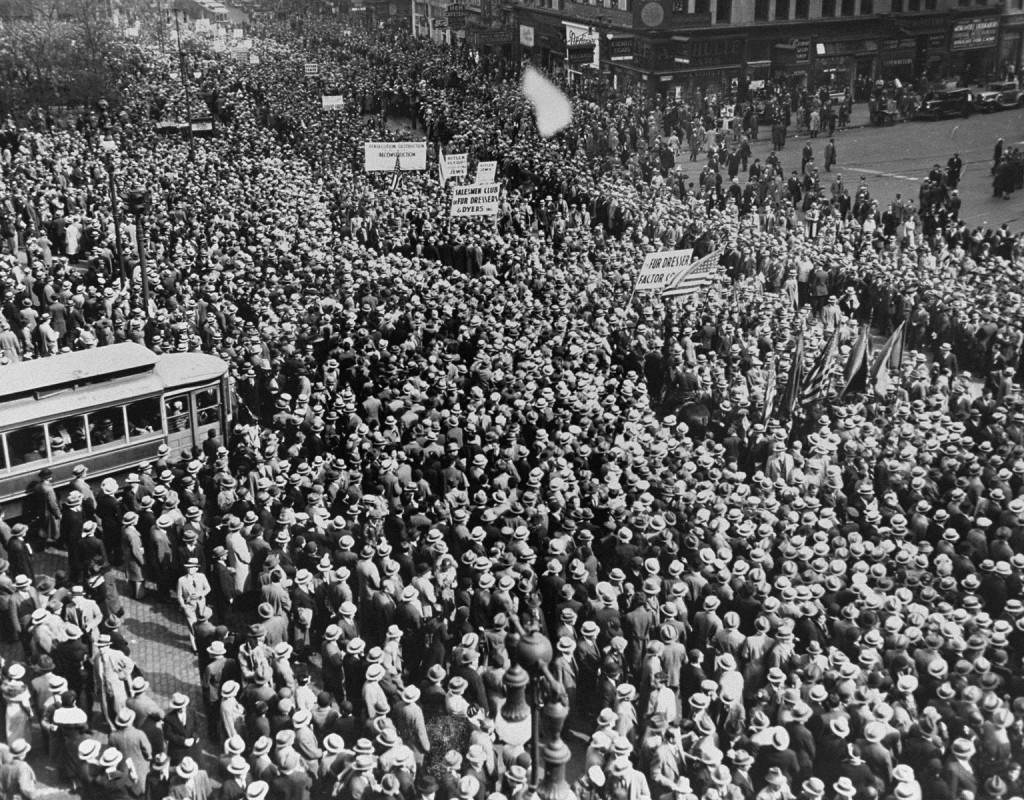 More than a hundred thousand demonstrators gather in front of Madison Square Garden to take part in an anti-Nazi protest march through lower Manhattan. May 10, 1933.