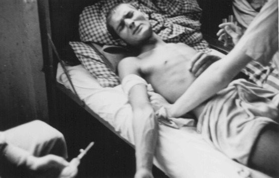 "<p>A Romani (Gypsy) victim of <a href=""/narrative/3000/en"">Nazi medical experiments</a> to make seawater safe to drink. <a href=""/narrative/4391/en"">Dachau</a> concentration camp, Germany, 1944.</p>"