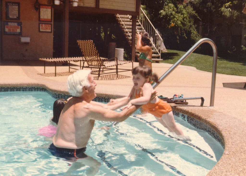 <p>Harry teaching granddaughter Alexis Danielle how to swim, probably in San Diego, California.</p>