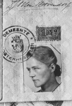 <p>Identity photo of Dirke Otten, who gave her identity card to a Jew in order to save her. Otten and her husband hid as many as 50 Jews in their home at one time. Nieuwlande, the Netherlands, date uncertain.</p>