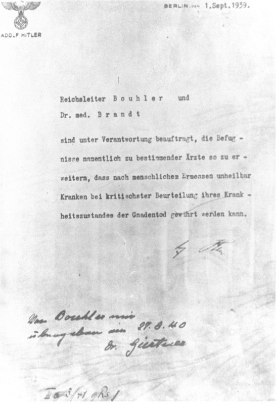 Adolf Hitler's authorization for the Euthanasia Program (Operation T4), signed in October 1939 but dated September 1, 1939. [LCID: 67072]