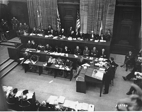 "<p>Chief US Counsel Justice Robert Jackson delivers the prosecution's opening statement at the <a href=""/narrative/9366"">International Military Tribunal</a>. Nuremberg, Germany, November 21, 1945.</p>"
