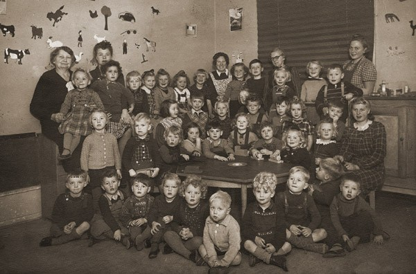 Portrait of a preschool class in Copenhagen. Gus Goldenburger (top row, second from left) was one of the few Jewish students in the ... [LCID: 01215]