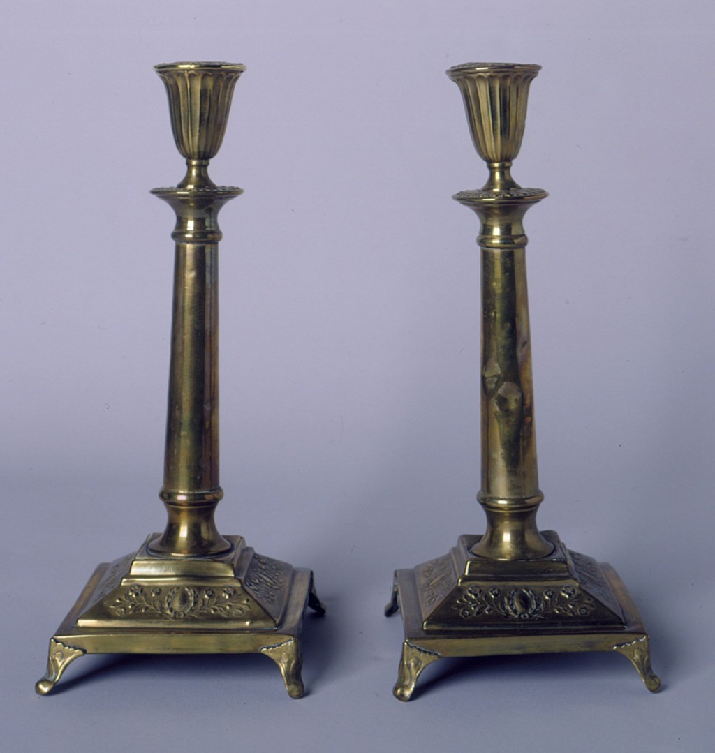 "<p>A pair of candlesticks, bought in Poland and used every Friday evening during observance of the Jewish Sabbath. <a href=""/narrative/7045"">Polish Jewish refugees fleeing the German invasion of Poland</a> in 1939 carried these candlesticks with them to Vilna.</p>"