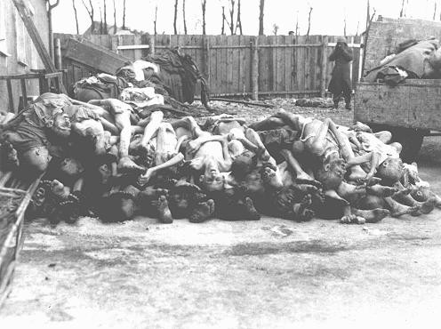 A pile of corpses in the Buchenwald concentration camp after liberation. [LCID: 07500]