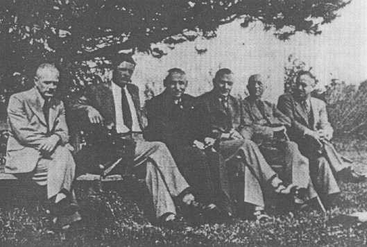 <p>Personnel of T4, the agency created to administer the Nazi Euthanasia Program. Pictured from left to right are: Erich Bauer (chauffeur), Dr. Rudolf Lonauer, Dr. Victor Ratka, Dr. Friedrich Mennecke, Dr. Paul Nitsche,and Dr. Gerhard Wischer. Berlin, Germany, 1939–45.</p>