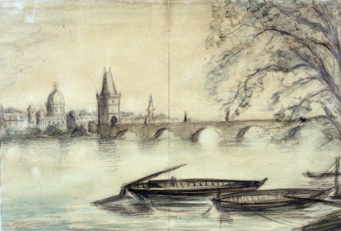 "<p>1943 painting of the Vltava River in Prague created from a photograph by Bedrich Fritta when he was imprisoned in <a href=""/narrative/5386"">Theresienstadt</a>. Fritta (1909-1945) was a Czech Jewish artist who created drawings and paintings depicting conditions in the Theresienstadt camp-ghetto. Fritta was deported to <a href=""/narrative/3673"">Auschwitz</a> in October 1944. He died there a week after his arrival.</p>"