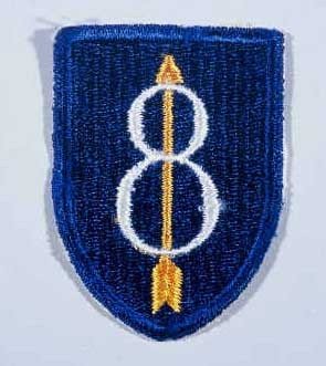 """Insignia of the 8th Infantry Division. The 8th Infantry Division was known as both the """"Golden Arrow"""" and """"Pathfinder"""" division during ... [LCID: n05627]"""