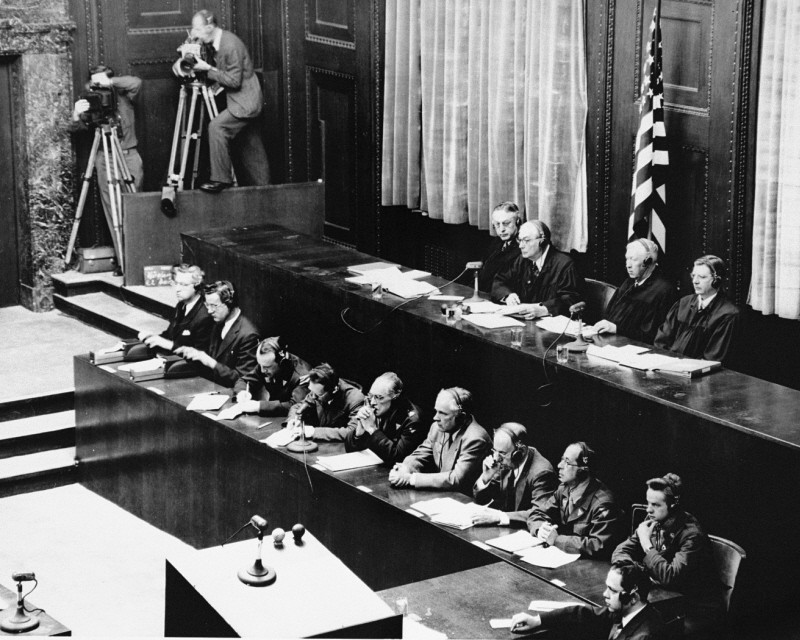 American judges (top row, seated) during the Doctors' Trial. [LCID: 07349]