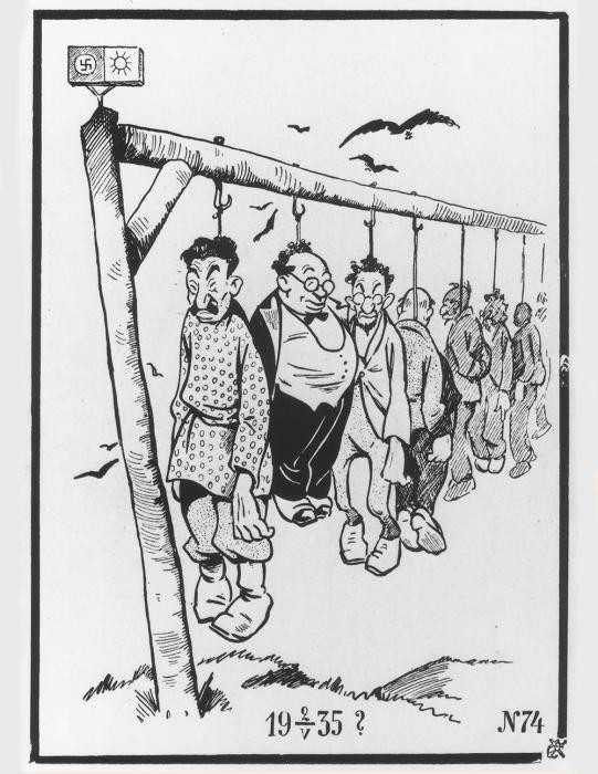 Cartoon depicting Jews, communists and other enemies of the Nazis hanging on a gallows