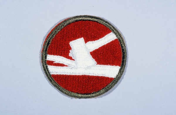 """Insignia of the 84th Infantry Division. The 84th Infantry Division derives its nickname, """"Railsplitter"""" division, from the divisional ... [LCID: n05646]"""