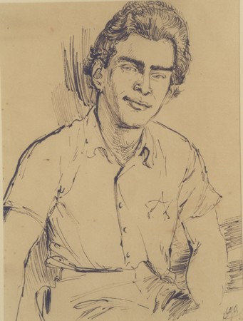 <p>1943 portrait of Edgar Krasa drawn by Leo Haas in Theresienstadt. Haas (1901-1983) was a Czech Jewish artist who, while imprisoned in Nisko and Theresienstadt during World War II, painted portraits and produced a large volume of drawings documenting the daily life of the prisoners.</p>