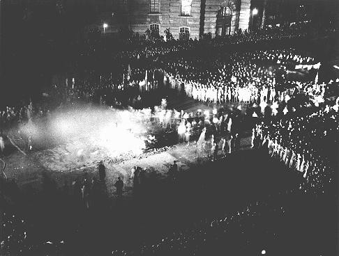 "<p><a href=""/narrative/7631"">Book burning</a> in Berlin. Germany, May 10, 1933.</p>"