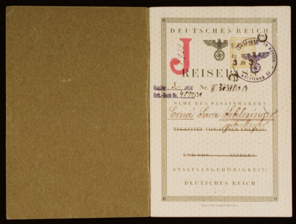 "German passport Issued to Erna ""Sara"" Schlesinger (inside)"