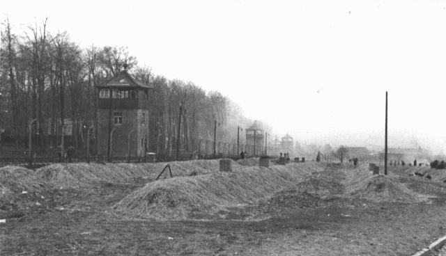 A view of the Buchenwald concentration camp after the liberation of the camp. [LCID: 11469]