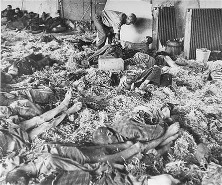 An American soldier tends to a former prisoner lying among corpses of victims at the Dora-Mittelbau concentration camp, near Nordhausen. [LCID: 77031]