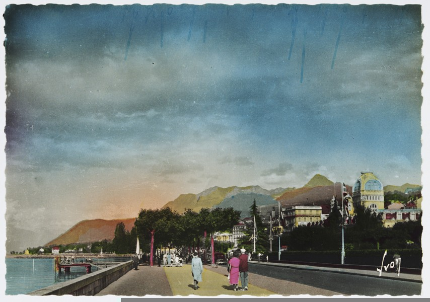 "<p>Postcard showing Evian-les-Bains, a French resort of Evian on Lake Geneva,  at the time of the 1938 <a href=""/narrative/6748"">Evian conference</a> on <a href=""/narrative/2419"">refugees</a>.</p>"