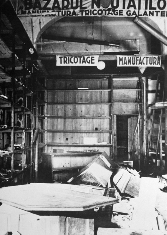 "<p>A knitwear store that was emptied and destroyed during the January 21-23 Iron Guard <a href=""/narrative/3487/en"">pogrom</a>. Bucharest, <a href=""/narrative/6527/en"">Romania</a>, January 1941.</p>"