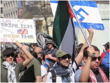 Protesters at an anti-Israel rally.  Washington, DC, March 2010. [LCID: misuse1]