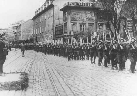 A military parade in Bratislava. Bratislava, Czechoslovakia, May 3, 1940.