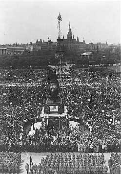 <p>A May Day rally in Vienna's Heldenplatz following the German incorporation of Austria (the Anschluss). Vienna, Austria, May 1, 1938.</p>