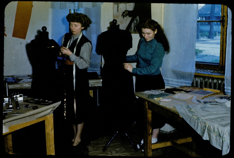 Jewish displaced persons learn dressmaking in the Foehrenwald Organization for Rehabilitation through Training (ORT) vocational school.