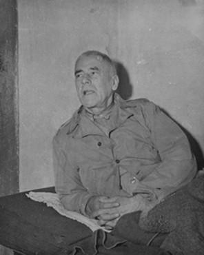 <p>Defendant Wilhelm Frick in his prison cell at Nuremberg.</p>