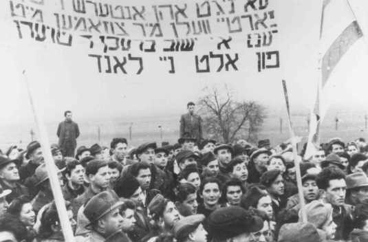 <p>Refugees protest British immigration policy in Palestine. They carry banners demanding a Jewish state. Zeilsheim displaced persons camp, Germany, 1946.</p>