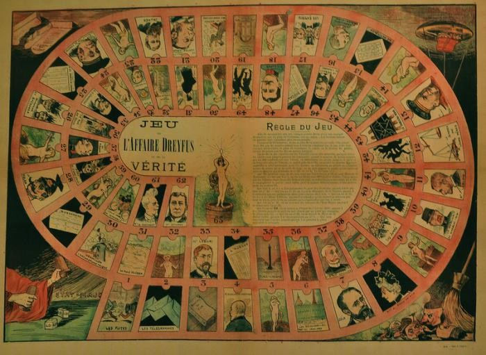Poster of a pro-Dreyfus parlor game, France, ca. 1898