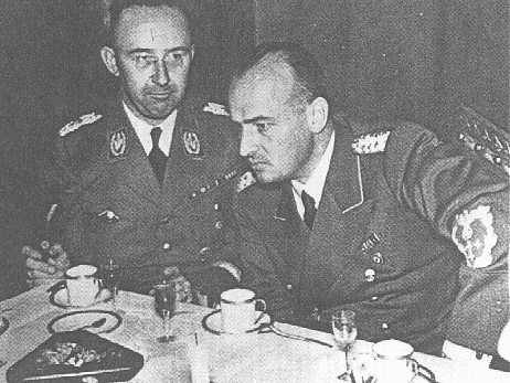 SS chief Heinrich Himmler (left) and Hans Frank, head of the Generalgouvernement in occupied Poland. [LCID: 01589]