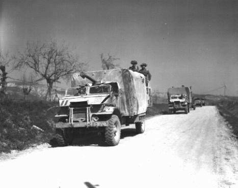 "<p>Soldiers and vehicles of the <a href=""/narrative/4750"">Jewish Brigade Group</a>, which participated in the final Allied offensive in Italy. Italy, March 24, 1945.</p>"