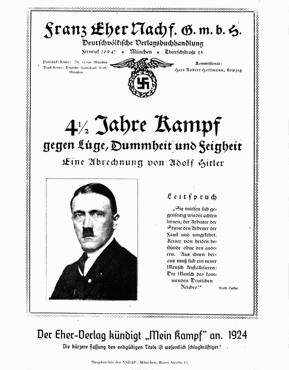 <p>An early advertisement for Adolf Hitler's MEIN KAMPF, showing the original title of the work. Munich, Germany, 1924.</p>
