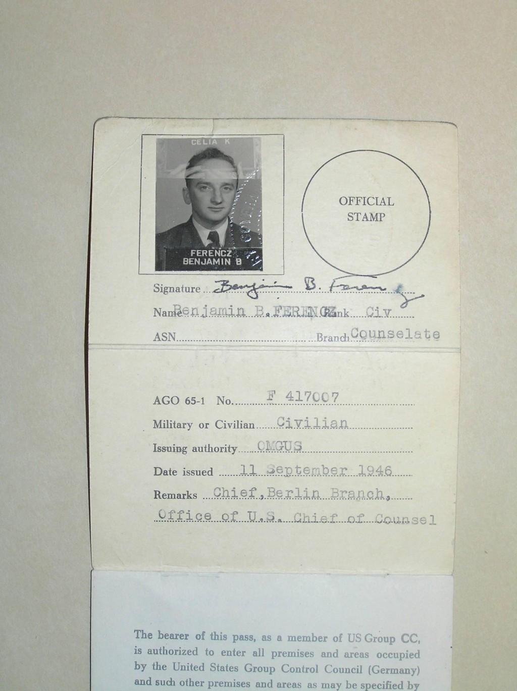 Ben Ferencz's pass [LCID: 2005ku0z]