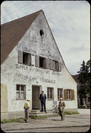 Exterior view of the ORT supply and transport building in the Foehrenwald displaced persons camp. [LCID: 45784]
