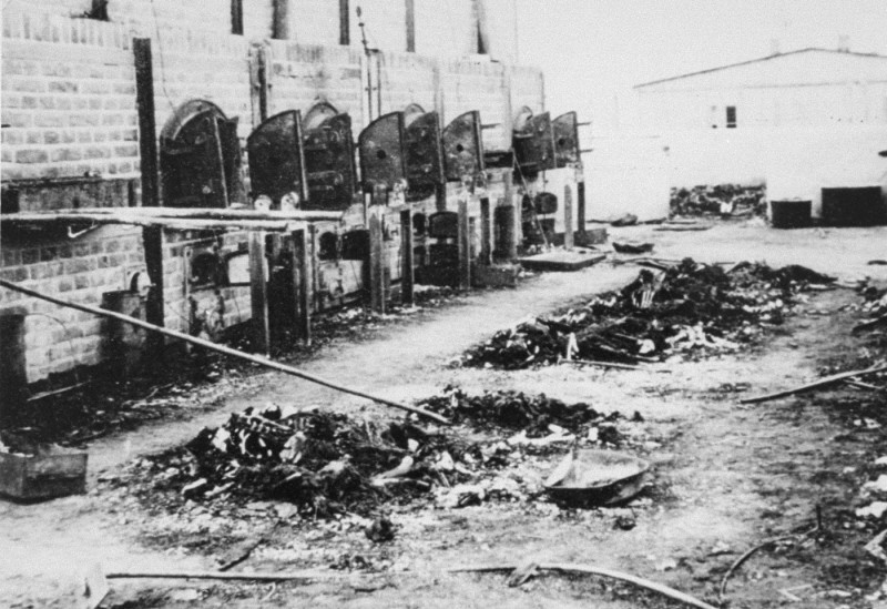 Charred remains of corpses near crematoria in the Majdanek camp, after liberation. [LCID: 50481]
