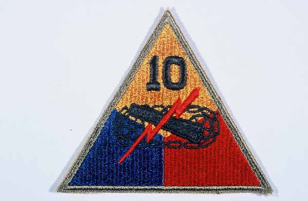 """Insignia of the 10th Armored Division. The """"Tiger Division"""" nickname of the 10th originates from a division-wide contest held while ... [LCID: n05629]"""