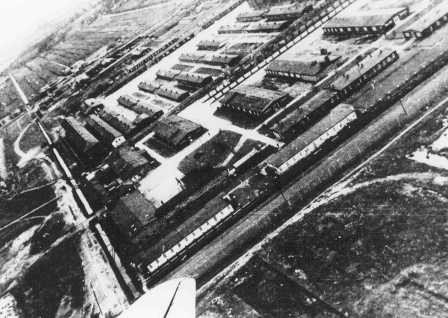 Aerial view of Neuengamme concentration camp. Germany, date uncertain.