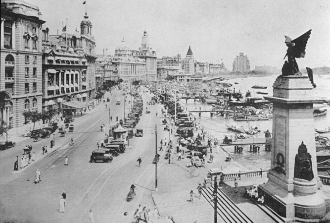 <p>Shanghai's famous harbor-side roadway, the Bund, in the 1930s.</p>