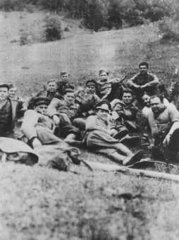 "<p>Members of the Slovak partisan unit ""Petofy"" before a mission. Their commander was Jewish partisan leader Karol Adler. The unit participated in the Slovak national uprising against the Germans. Czechoslovakia, 1943 or 1944.</p>"