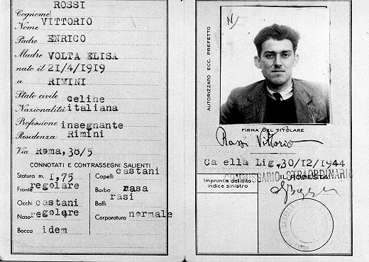 <p>False identity card of Jewish partisan Vittorio Finzi, issued in the name of Vittorio Rossi. Italy, wartime.</p>