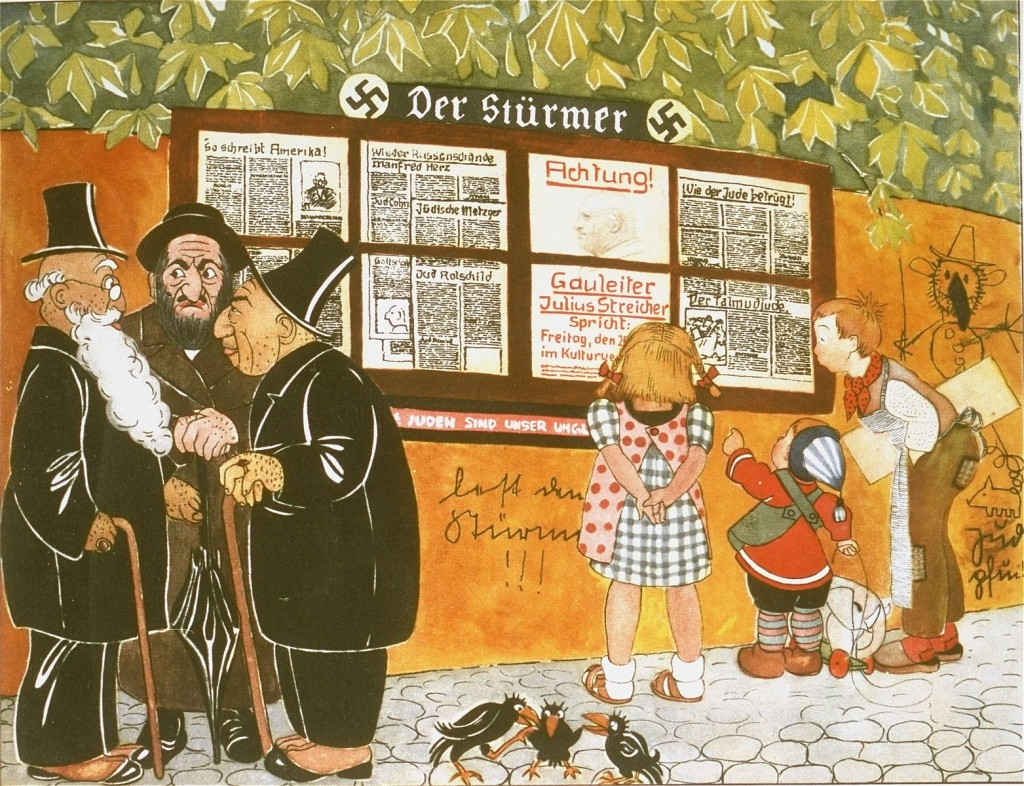 "Illustration from a German antisemitic children's book titled ""Trust No Fox in the Green Meadow and No Jew on his Oath"" (translation ... [LCID: 10640f]"