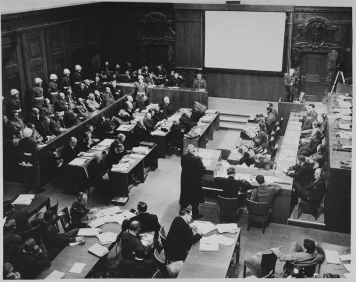 View of the courtroom during the International Military Tribunal proceedings in Nuremberg, showing screen upon which films were projected.
