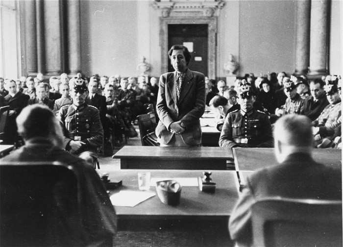 Participants in the July 1944 plot to assassinate Hitler stand trial before the People's Court of Berlin. [LCID: 03652]