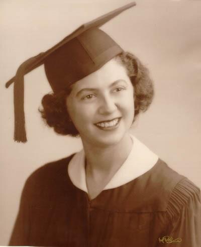 Regina upon graduation from Thomas Jefferson High School in Brooklyn, New York, February 3, 1949. [LCID: gelb25]
