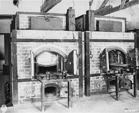 Two ovens inside the crematorium at the Dachau concentration camp. [LCID: 80722]